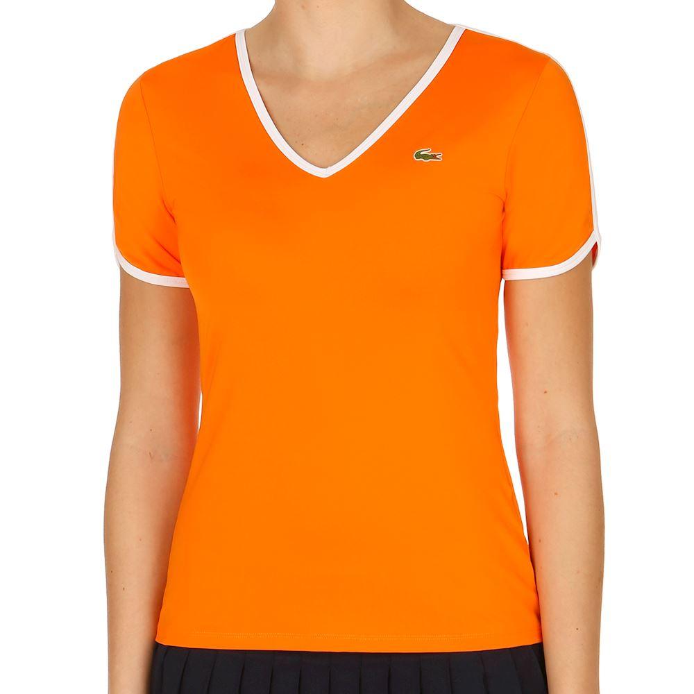 5d6dd227cc Lacoste Női Tenisz Póló Narancssárga/Fehér