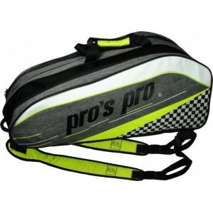 Pros Pro - Tenisztáska 12 Ütőnek Szürke/Lime Zöld/Fekete/Fehér