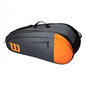 Wilson - Burn V4 Team 2020 Tenisz Táska 6 Teniszütőnek Szürke/Narancssárga/Fekete