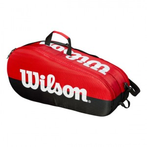 Wilson - Team Tenisz Táska 6 Teniszütőnek Piros/Fekete/Fehér